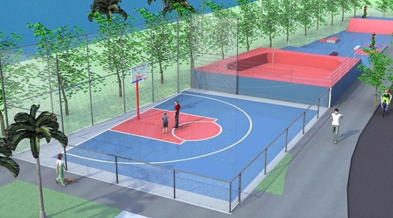 Prefeitura está construindo quadra de basquete