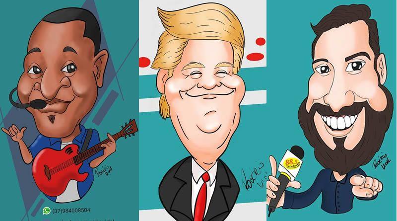 Rogério Teodoro e as caricaturas de famosos