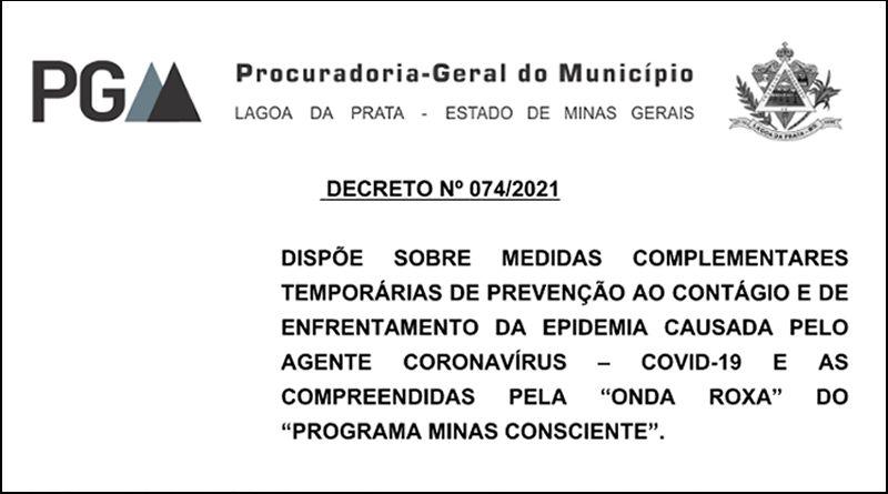 Decreto 074/2021 de 16 de Janeiro de 2021